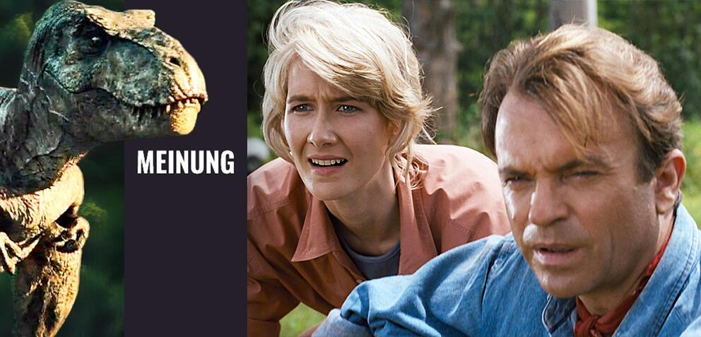 Ein T. rex freut sich auf die nächsten Opfer: Laura Dern und Sam Neill in Jurassic Park