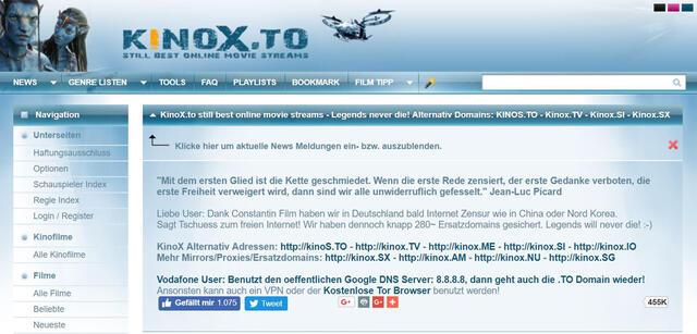 Screenshot der Webseite kinox.to