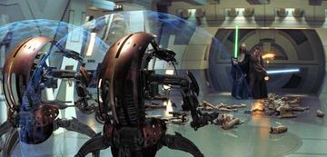 Qui-Gon und Obi-Wan kämpfen gemeinsam in Episode 1