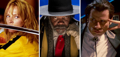 Uma Thurman in Kill Bill Vol. 1, Samuel L. Jackson in The Hateful 8 und John Travolta in Pulp Fiction