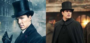 Sherlock und Dracula als Zylinder-Träger