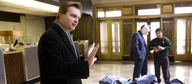 Christopher Nolan am Set von The Dark Knight