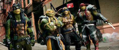 Die Turtles warten auf ihren Einsatz für den neuen Trailer