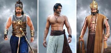 Prabhas als Baahubali (l.), als Shivudi (m.) und Rana als Bhallaladeva.