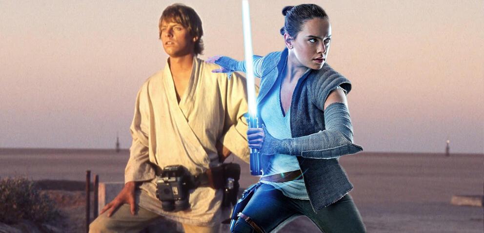 Rey und Luke aus der Star Wars-Saga