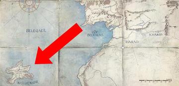 Númenor auf Amazons veröffentlichter Herr der Ringe-Karte