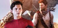 Bild zu:  Tom Holland als Spider-Man vor dem Cover von Uncharted 3 - Drake's Deception