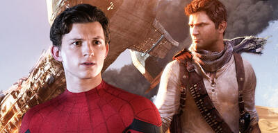 Tom Holland als Spider-Man vor dem Cover von Uncharted 3 - Drake's Deception