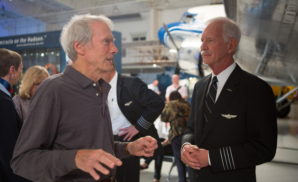 Sully mit Clint Eastwood und Chesley Sullenberger