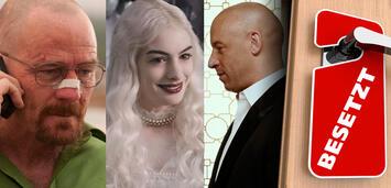 Bild zu:  Bryan Cranston in Breaking Bad/Anne Hathaway in Alice im Wunderland/Vin Diesel inFast & Furious 7