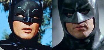 Adam West und Michael Keaton als Batman