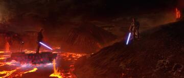 Anakin und Obi-Wan auf Mustafar