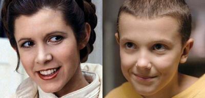Carrie Fisher als Leia und Millie Bobby Brown als Eleven