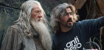 """Hobbit-Dreharbeiten-Helfer: Christian Rivers mit Ian """"Gandalf"""" McKellen"""