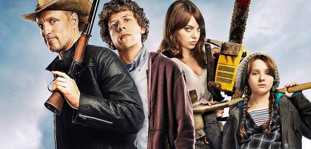 Woody Harrelson, Jesse Eisenberg, Emma Stone und Abigail Breslin in Zombieland