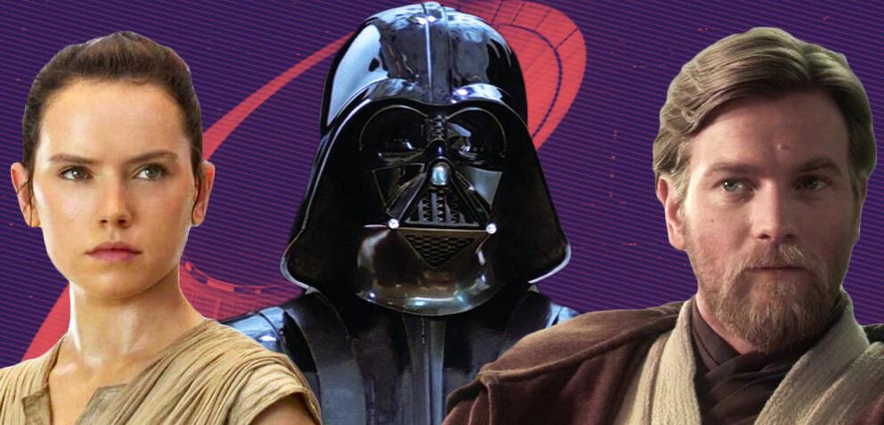 Rey, Darth Vader und Obi-Wan Kenobi aus Star Wars