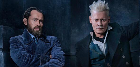 Phantastische Tierwesen 2:Dumbledore (Jude Law) und Grindelwald (Johnny Depp)