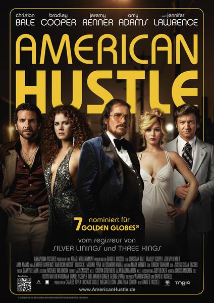 American Hustle mit Christian Bale, Jennifer Lawrence, Bradley Cooper, Jeremy Renner und Amy Adams