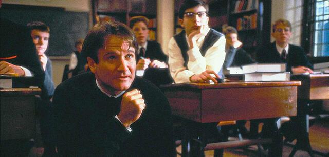 "Robin Williams in ""Dead Poets Society"""