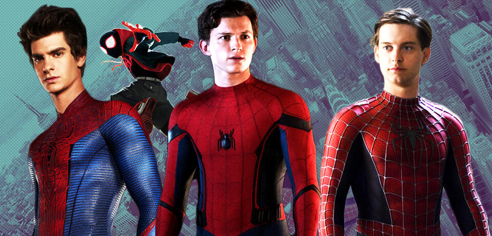 Andrew Garfield, Tom Holland, Tobey Maguire und ein animierter Spider-Man
