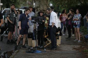 Lynne Ramsay mit Joaquin Phoenix am Set von A Beautiful Day