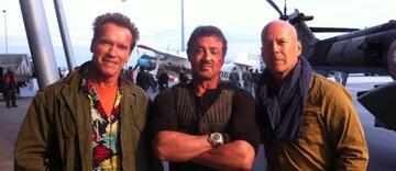 Arnold Schwarzenegger, Sylvester Stallone und Bruce Willis haben ihren Spaß bei Expendables 2
