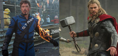 Robert Downey Jr. in Iron Man 2 & Chris Hemsworth in Thor 2