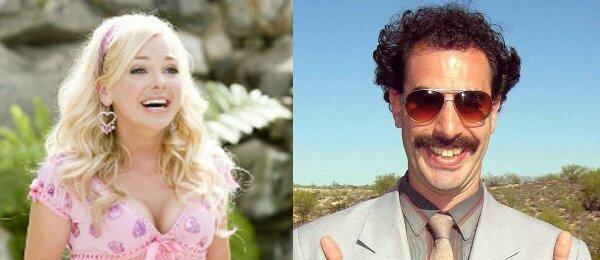 Anna Faris in House Bunny und Sacha Baron Cohen als Borat