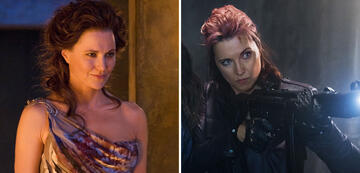 Lucy Lawless in Spartacus (l.) und Ash vs. Evil Dead (r.)