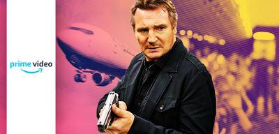 Liam Neeson nebst Flugzeug in Non-Stop