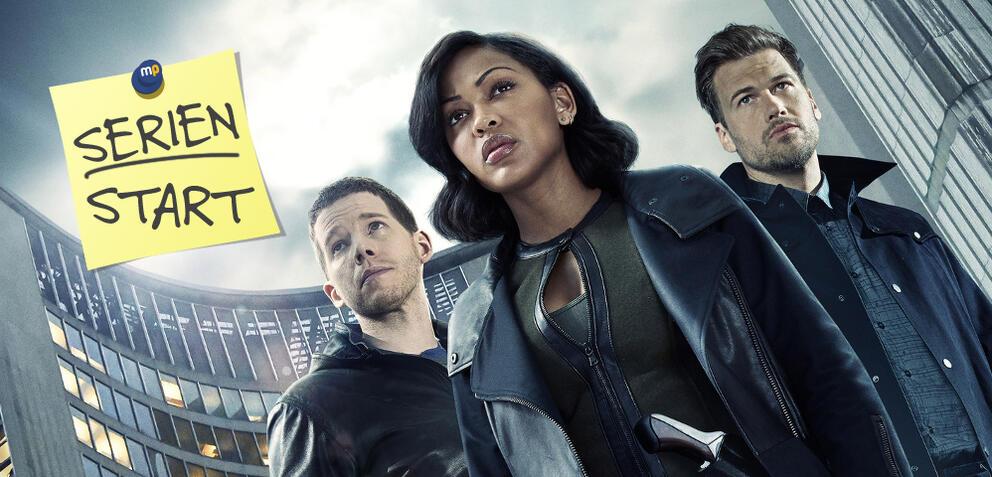 Der Minority Report-Cast blickt in die Zukunft.