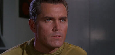 Captain Christopher Pike (Jeffrey Hunter) in The Cage