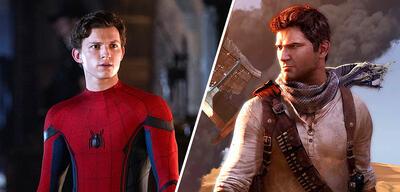 Tom Holland als Spider-Man neben Nathan Drake