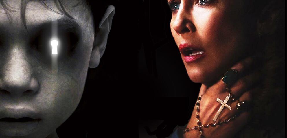 Teaserposter zu den Horrorfilmen The Other Side of the Door und The Conjuring 2