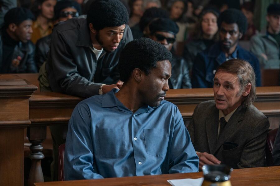 The Trial of the Chicago 7 mit Mark Rylance, Yahya Abdul-Mateen II und Kelvin Harrison Jr.