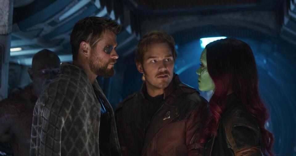 Avengers 3: Infinity War mit Chris Hemsworth, Chris Pratt, Zoe Saldana und Dave Bautista