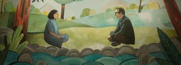 Alma (Rosa Salazar) und Jacob (Bob Odenkirk) sitzen in einer Kulisse in Basteloptik.
