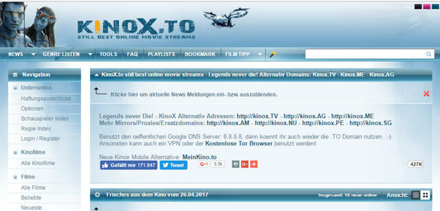 Screenshot der Webseite Kinox.to