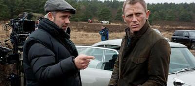 Sam Mendes & Daniel Craig am Bond-Set
