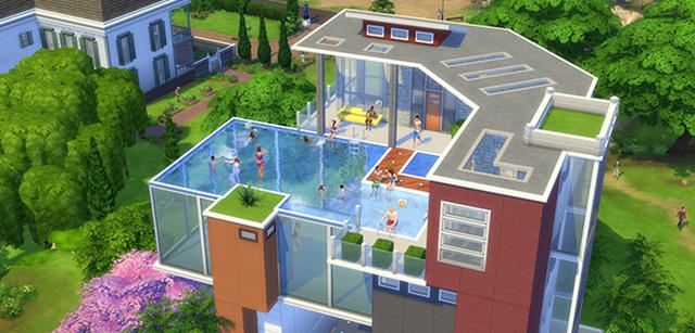 Sehr schick, so ein Swimmingpool auf/in dem Dach.