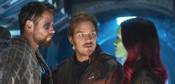 Bild zu:  Ach so! Thor, Star-Lord und Gamora in Infinity War