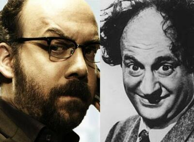 Links: Paul Giamatti in Shoot 'em Up, rechts: Larry Fine