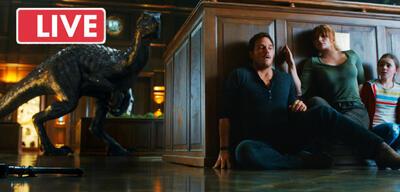 Die Teilnehmer des Live-Talks (rechts) und Jurassic World 2: Das gefallene Königreich (links)