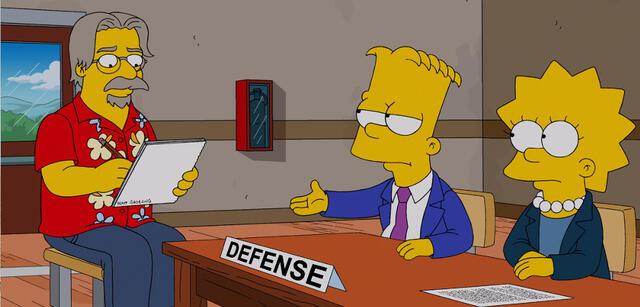 Matt Groening und seine Geschöpfe Bart und Lisa Simpson