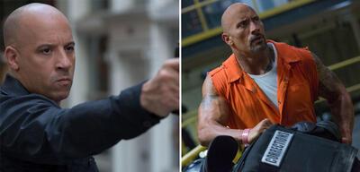 Vin Diesel und Dwayne Johnson als Dom und Hobbs in Fast & Furious 8
