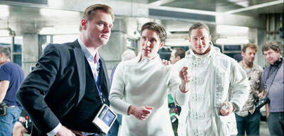 Inception: Christopher Nolan, Cillian Murphy und Tom Hardy am Set