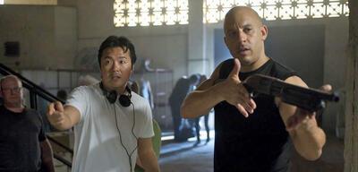Justin Lin und Vin Diesel bei den Dreharbeiten
