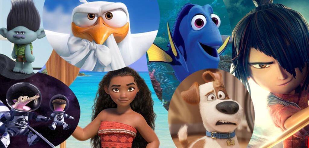 Figuren aus den Animationsfilmen Trolls / Ice Age 5 / Störche / Vaiana / Findet Dorie / Pets / Kubo