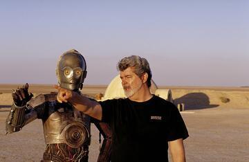 George Lucas am Set von Star Wars: Episode II - Angriff der Klonkrieger (2002)