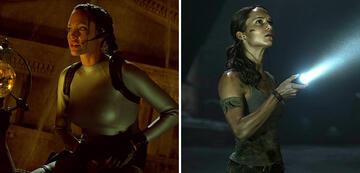 Zwei grundverschiedene Laras: Angelina Jolie 2001 und Alicia Vikander 2018